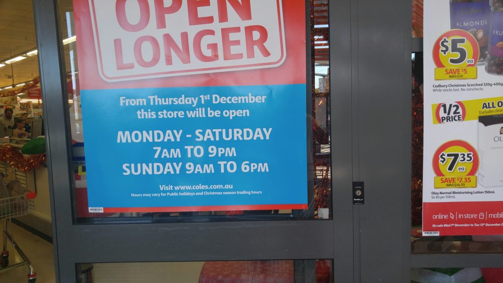 Coles got an extended trading hours