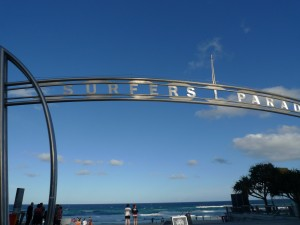 The Entrance to Surfers Paradise beach.