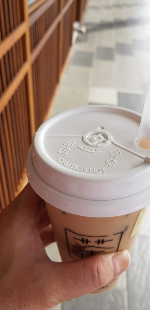 the honey milk tea with pearls